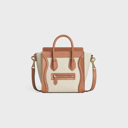 CELINE Luggage Nano Luggage Bag In Textile And Natural Calfskin