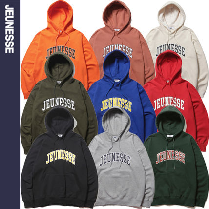 Unisex Street Style Long Sleeves Logo Hoodies