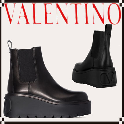 VALENTINO Casual Style Street Style Plain Leather Logo Wedge Boots
