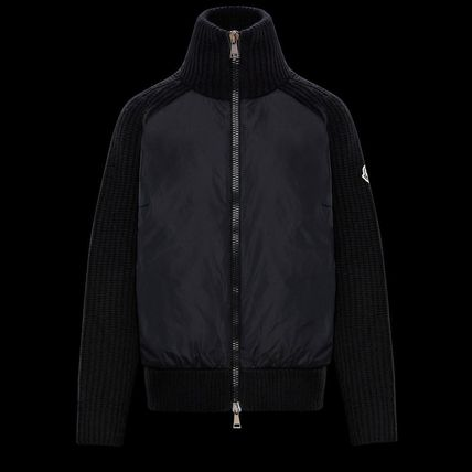 MONCLER Wool Cashmere Nylon Long Sleeves Plain Logos on the Sleeves