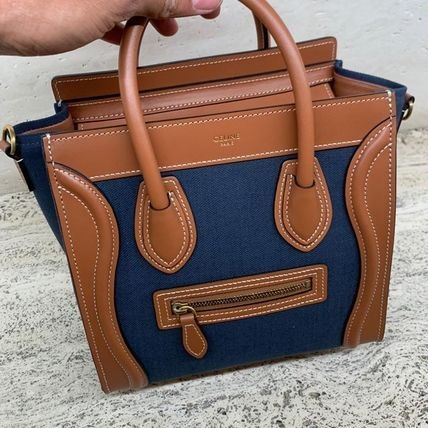 CELINE Luggage Nano Luggage Bag In Textile And Calfskin