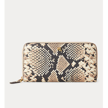 Ralph Lauren Long Wallet  Logo Unisex Leather Python Long Wallets