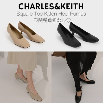 Charles&Keith Square Toe Casual Style Faux Fur Plain Party Style