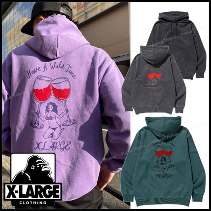 X-Large Pullovers Street Style Long Sleeves Plain Logo Hoodies