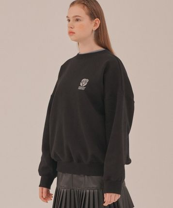 Unisex Sweat Street Style Long Sleeves Plain Oversized Logo