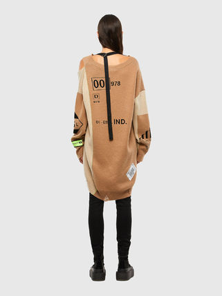 Casual Style Wool Street Style V-Neck Bi-color Long Sleeves