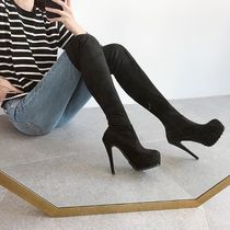 Round Toe Suede Faux Fur Pin Heels Over-the-Knee Boots