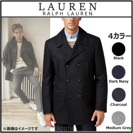 Ralph Lauren Short Wool Plain Long Peacoats Coats