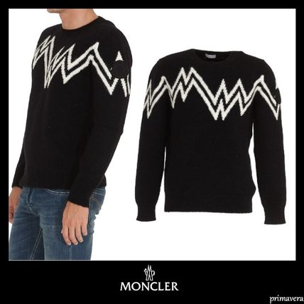 MONCLER Sweaters Crew Neck Pullovers Wool Nylon Street Style Long Sleeves