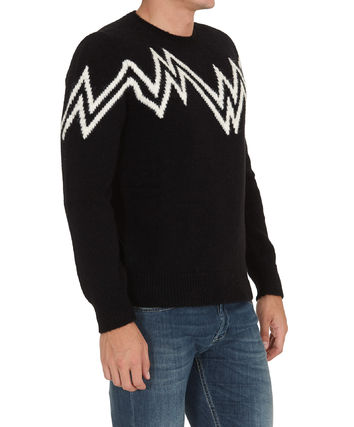 MONCLER Sweaters Crew Neck Pullovers Wool Nylon Street Style Long Sleeves 4