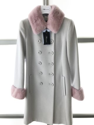 Blumarine Wool Nylon Fur Plain Medium Long Peacoats