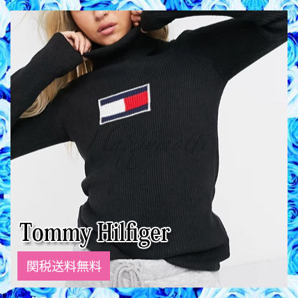 Tommy Hilfiger Casual Style Cashmere Street Style Long Sleeves Cotton Logo