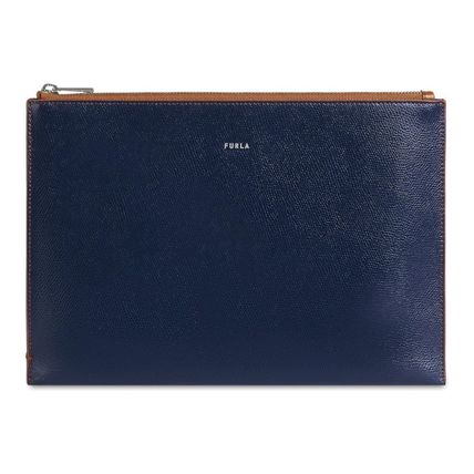 FURLA Logo Metallic Plain Leather Clutches