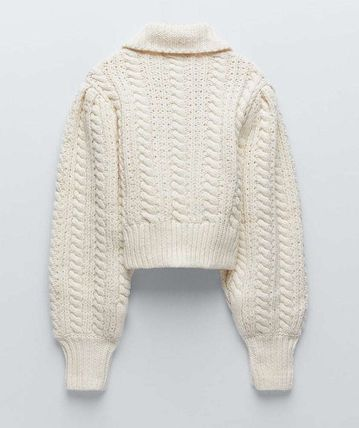 ZARA Cable Knit Casual Style Wool Long Sleeves Plain Sweaters