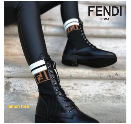 FENDI Monogram Lace-up Casual Style Bi-color Leather Logo