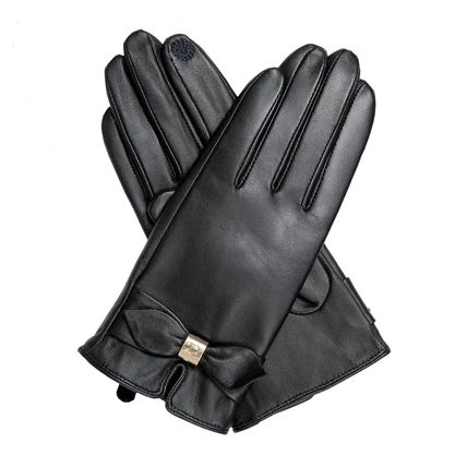 Unisex Plain Leather Leather & Faux Leather Gloves