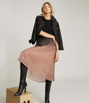 Casual Style Pleated Skirts Bi-color Medium Office Style