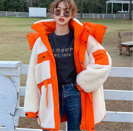 Casual Style Wool Faux Fur Blended Fabrics Street Style