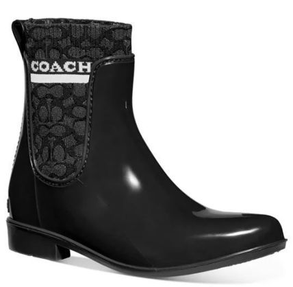 Coach Logo Rubber Sole Plain Flat Boots