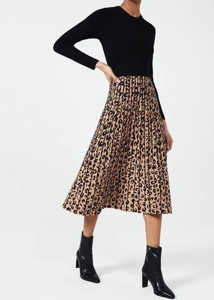 Crew Neck Leopard Patterns Casual Style Flared Street Style
