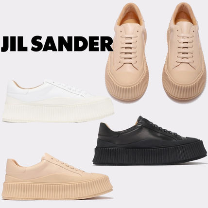 Jil Sander Platform Round Toe Casual Style Plain Leather