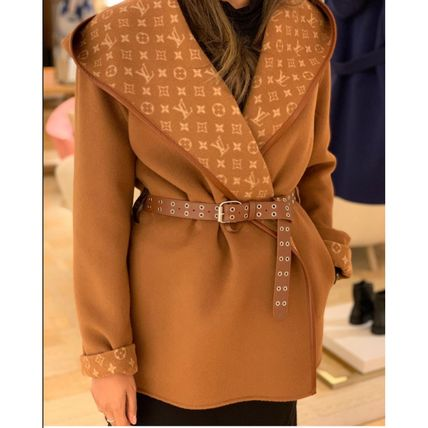 Louis Vuitton MONOGRAM Wrap Peacoat In Wool And Silk With Monogram Detail