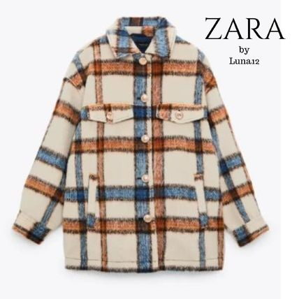 ZARA Other Plaid Patterns Casual Style Wool Jackets