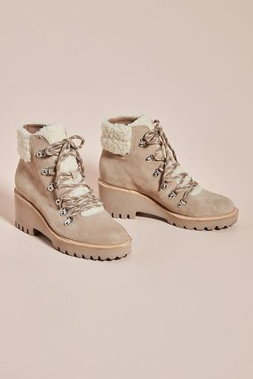 Casual Style Plain Mid Heel Boots