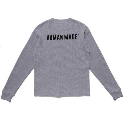 HUMAN MADE Crew Neck Pullovers Unisex Street Style Long Sleeves Cotton