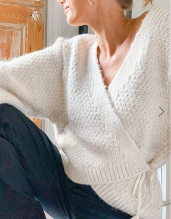 Casual Style V-Neck Long Sleeves Plain Office Style