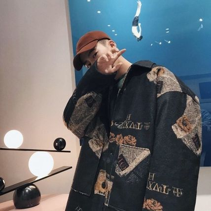 Stand Collar Coats Short Camouflage Leopard Patterns Unisex