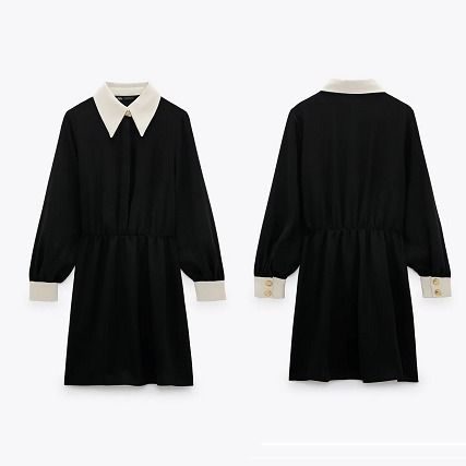 ZARA Short Casual Style Long Sleeves Plain Party Style Dresses