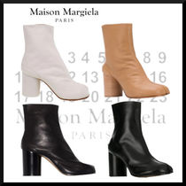 Maison Margiela Tabi Casual Style Street Style Plain Leather Block Heels Logo
