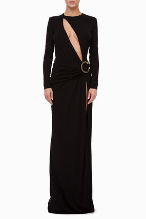 Crew Neck Tight Maxi Long Sleeves Plain Long With Jewels