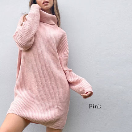 Short Casual Style Tight A-line Long Sleeves Plain High-Neck