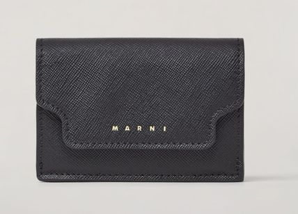 Saffiano Leather Small Wallet Logo Folding Wallets