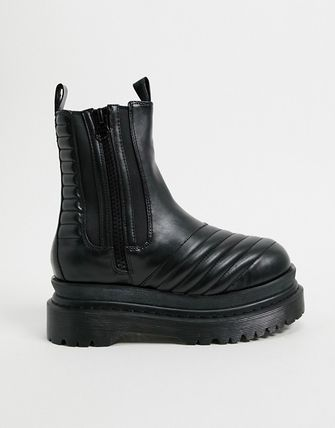 Round Toe Casual Style Leather Mid Heel Boots
