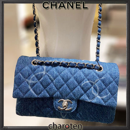CHANEL MATELASSE Casual Style Denim 3WAY Chain Plain Party Style Office Style