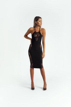 Flower Patterns Tight Sleeveless Plain Party Style Lace