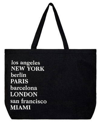 Logo Casual Style A4 Street Style Fringes Totes