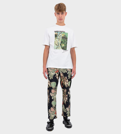 Printed Pants Flower Patterns Unisex Street Style Cotton