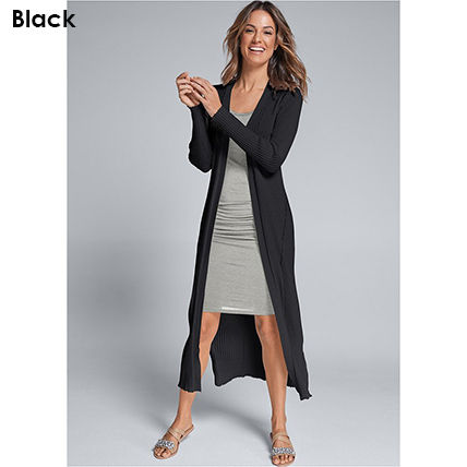 Casual Style Rib Long Sleeves Plain Cotton Long Office Style