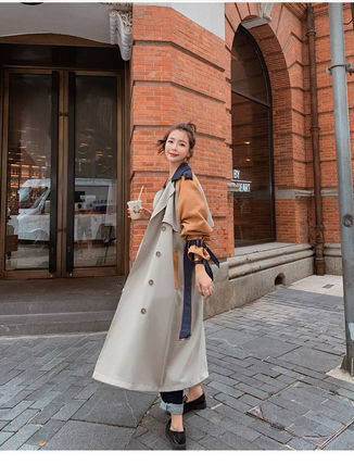 Stand Collar Coats Casual Style Street Style Plain