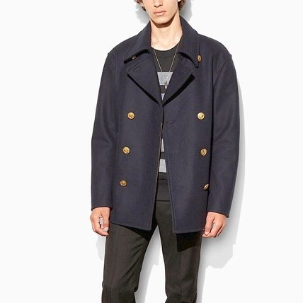 Coach Short Wool Plain Oversized Peacoats Coats