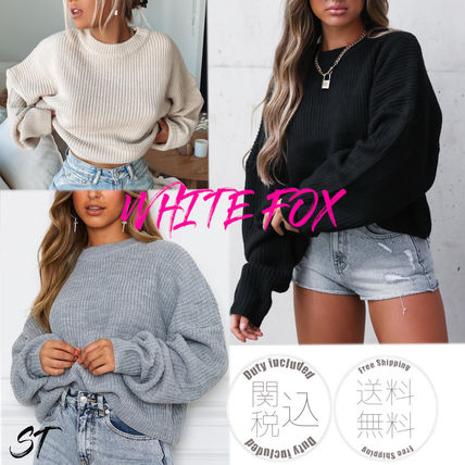 Crew Neck Cable Knit Short Casual Style Blended Fabrics