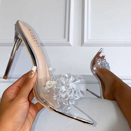 Casual Style Faux Fur Pin Heels Party Style With Jewels