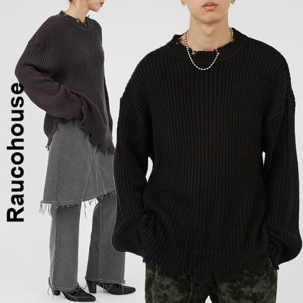 Raucohouse Sweaters Unisex Street Style Collaboration Long Sleeves Sweaters
