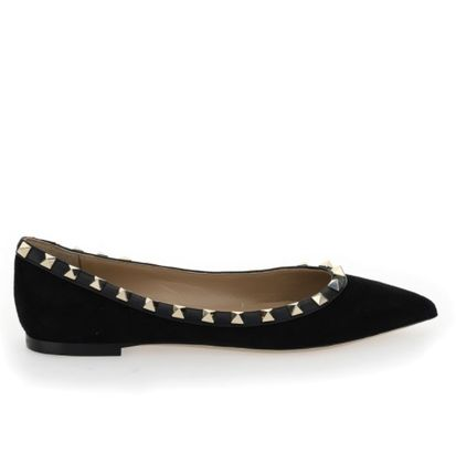 VALENTINO Casual Style Suede Studded Plain Leather Party Style