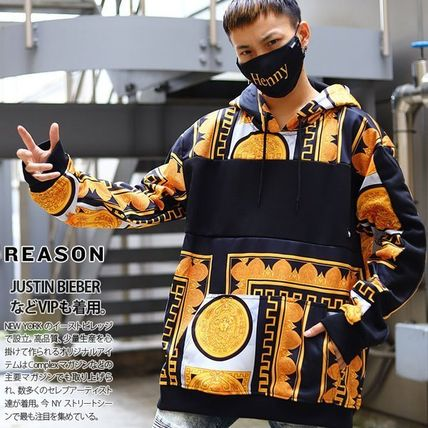 Pullovers Unisex Street Style Long Sleeves Chain Oversized