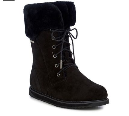 EMU Australia Lace-up Casual Style Sheepskin Suede Plain Lace-up Boots